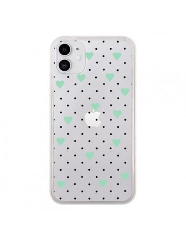 Coque iPhone 11 Point Coeur Mint Bleu Vert Pin Point Heart Transparente - Project M