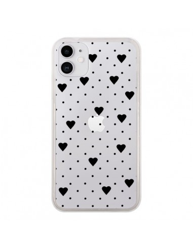 Coque iPhone 11 Point Coeur Noir Pin Point Heart Transparente - Project M