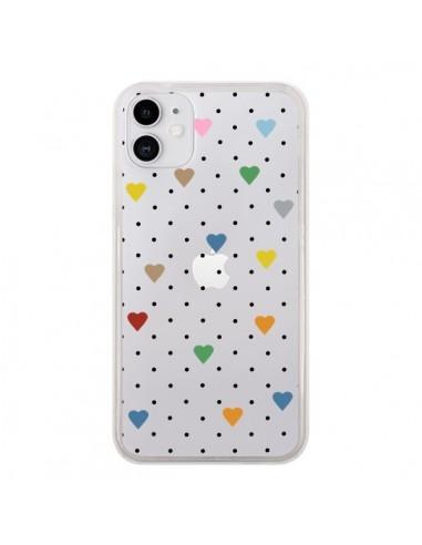 Coque iPhone 11 Point Coeur Coloré Pin Point Heart Transparente - Project M
