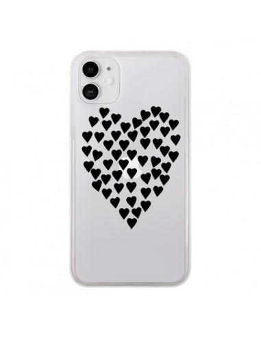 Coque iPhone 11 Coeurs Heart Love Noir Transparente - Project M