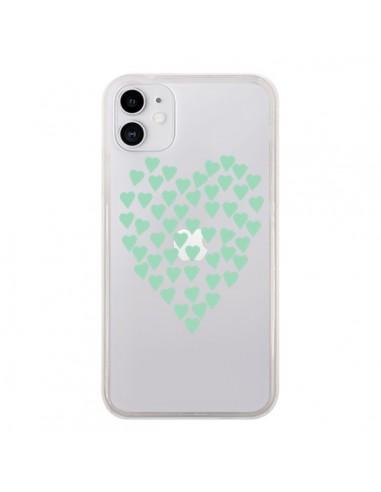 Coque iPhone 11 Coeurs Heart Love Mint Bleu Vert Transparente - Project M