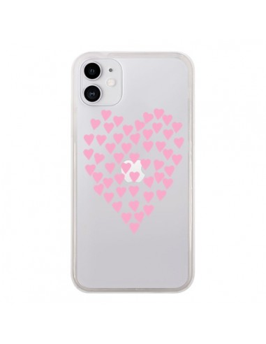 Coque iPhone 11 Coeurs Heart Love Rose Pink Transparente - Project M