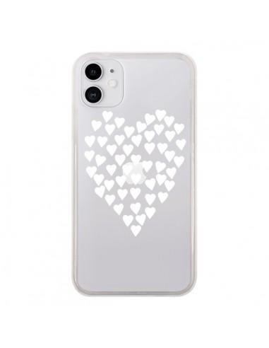 Coque iPhone 11 Coeurs Heart Love Blanc Transparente - Project M
