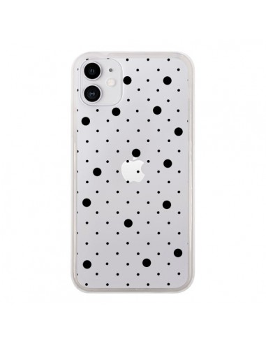 Coque iPhone 11 Point Noir Pin Point Transparente - Project M