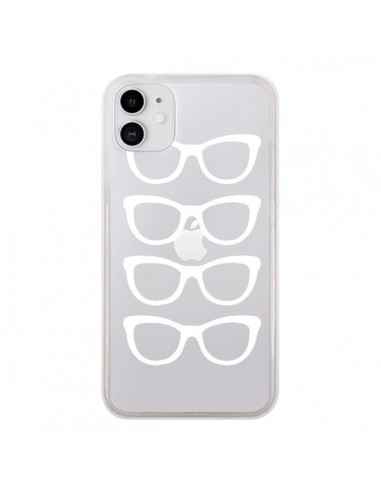Coque iPhone 11 Sunglasses Lunettes Soleil Blanc Transparente - Project M
