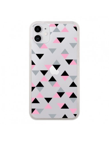 Coque iPhone 11 Triangles Pink Rose Noir Transparente - Project M