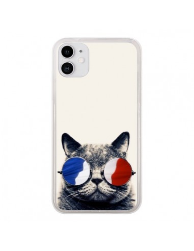 Coque iPhone 11 Chat à lunettes françaises - Gusto NYC