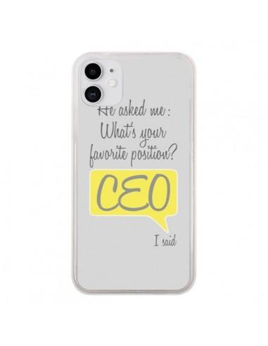 Coque iPhone 11 What's your favorite position CEO I said, jaune - Shop Gasoline