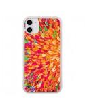 Coque iPhone 11 Fleurs Oranges Neon Splash - Ebi Emporium