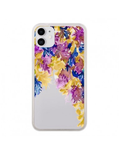 Coque iPhone 11 Cascade Florale Transparente - Ebi Emporium
