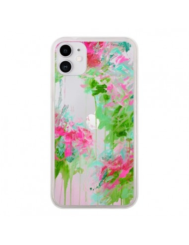 Coque iPhone 11 Fleur Flower Rose Vert Transparente - Ebi Emporium