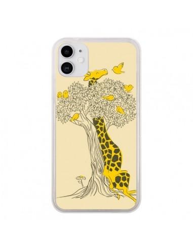 Coque iPhone 11 Girafe Amis Oiseaux - Jay Fleck