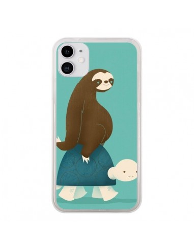 Coque iPhone 11 Tortue Taxi Singe Slow Ride - Jay Fleck