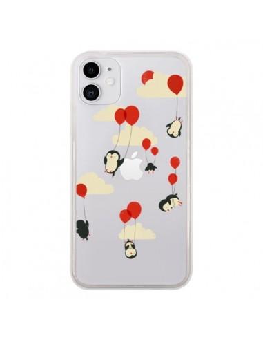 Coque iPhone 11 Pingouin Ciel Ballons Transparente - Jay Fleck
