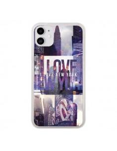 Coque iPhone 11 I love New Yorck City violet - Javier Martinez