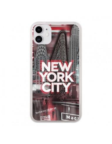 Coque iPhone 11 New York City Rouge - Javier Martinez