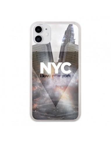 Coque iPhone 11 I Love New York City Gris - Javier Martinez