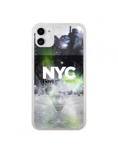 Coque iPhone 11 I Love New York City Vert - Javier Martinez