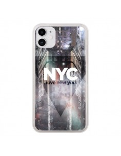 Coque iPhone 11 I Love New York City Violet - Javier Martinez