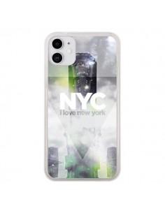 Coque iPhone 11 I Love New York City Gris Vert - Javier Martinez