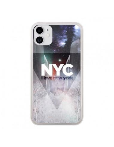 Coque iPhone 11 I Love New York City Bleu - Javier Martinez