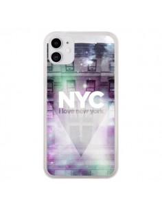 Coque iPhone 11 I Love New York City Violet Vert - Javier Martinez