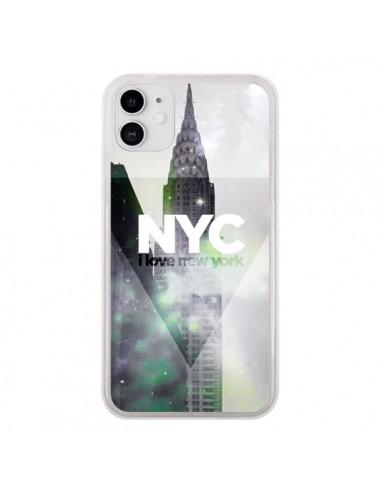 Coque iPhone 11 I Love New York City Gris Violet Vert - Javier Martinez