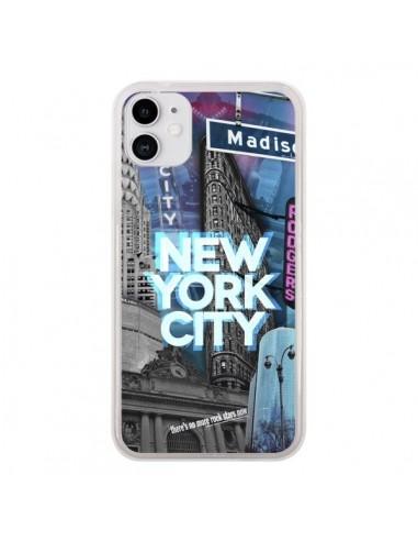 Coque iPhone 11 New York City Buildings Bleu - Javier Martinez