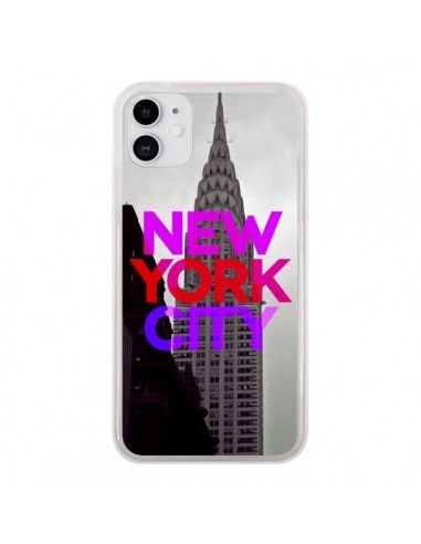 Coque iPhone 11 New York City Rose Rouge - Javier Martinez