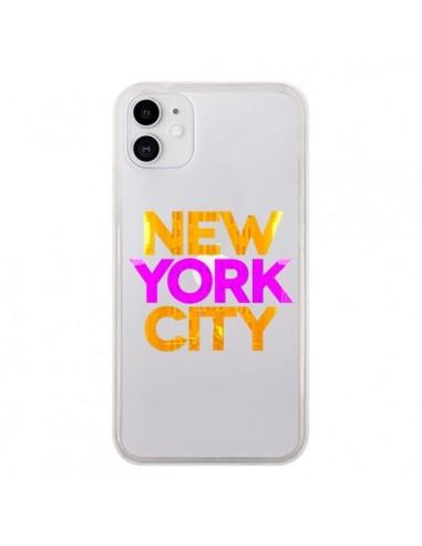 Coque iPhone 11 New York City NYC Orange Rose Transparente - Javier Martinez
