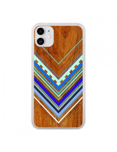 Coque iPhone 11 Azteque Arbutus Blue Bois Aztec Tribal - Jenny Mhairi