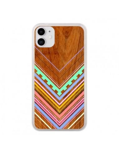 Coque iPhone 11 Azteque Arbutus Pastel Bois Aztec Tribal - Jenny Mhairi