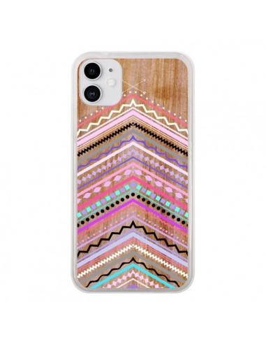 Coque iPhone 11 Purple Chevron Wild Wood Bois Azteque Aztec Tribal - Jenny Mhairi