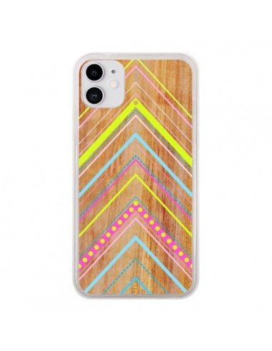 Coque iPhone 11 Wooden Chevron Pink Bois Azteque Aztec Tribal - Jenny Mhairi