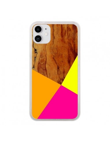 Coque iPhone 11 Wooden Colour Block Bois Azteque Aztec Tribal - Jenny Mhairi