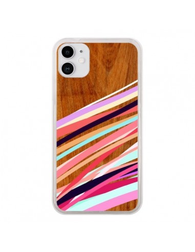 Coque iPhone 11 Wooden Waves Coral Bois Azteque Aztec Tribal - Jenny Mhairi