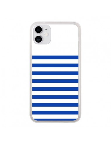 Coque iPhone 11 Mariniere Bleu - Jonathan Perez