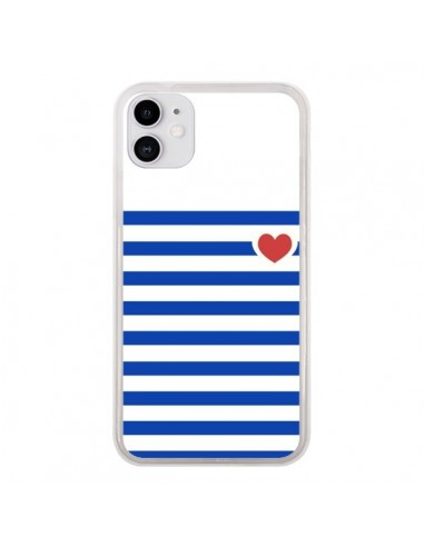 Coque iPhone 11 Mariniere Coeur - Jonathan Perez