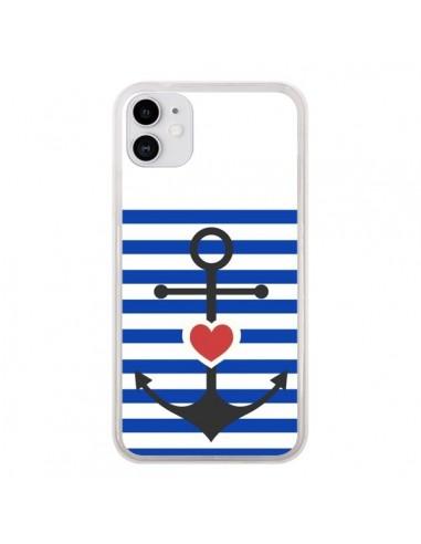 Coque iPhone 11 Mariniere Encre Marin Coeur - Jonathan Perez