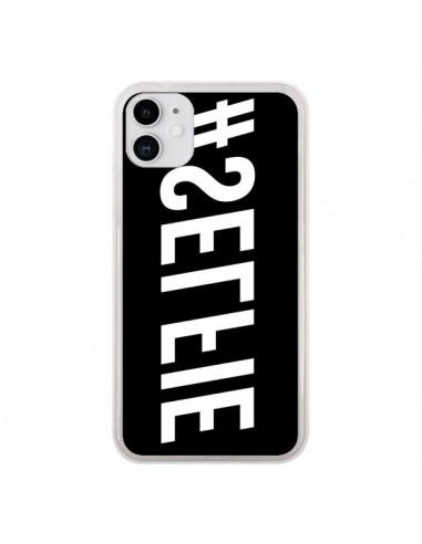 Coque iPhone 11 Hashtag Selfie Blanc Inversé Horizontal - Jonathan Perez
