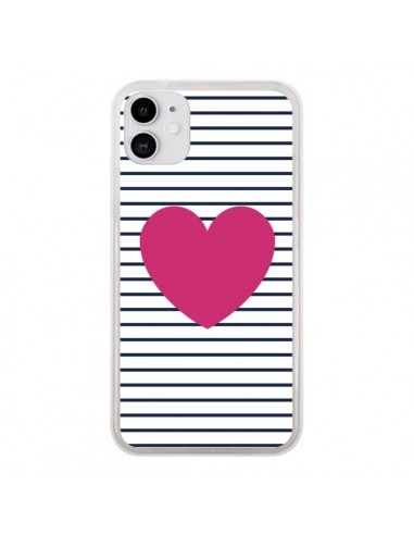 Coque iPhone 11 Coeur Traits Marin - Jonathan Perez
