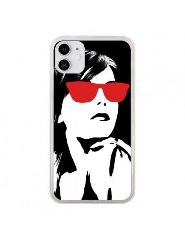 Coque iPhone 11 Fille Lunettes Rouges - Jonathan Perez