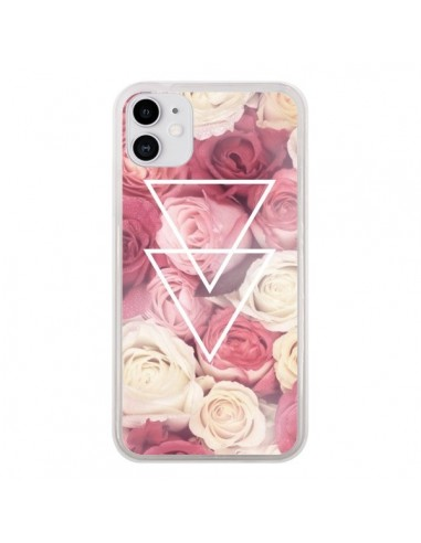 Coque iPhone 11 Roses Triangles Fleurs - Jonathan Perez