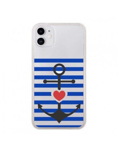 Coque iPhone 11 Mariniere Ancre Marin Coeur Transparente - Jonathan Perez