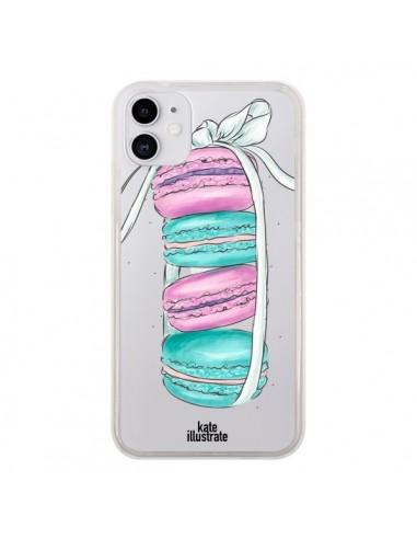 Coque iPhone 11 Macarons Pink Mint Rose Transparente - kateillustrate