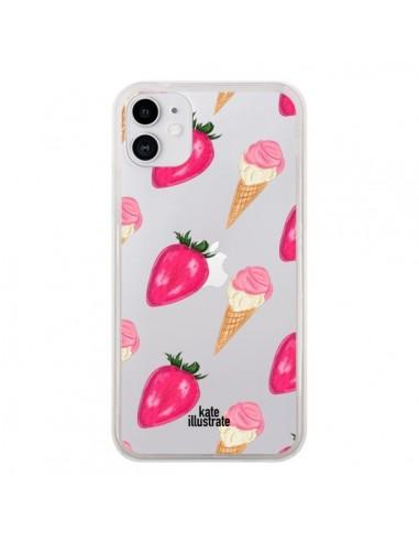 Coque iPhone 11 Strawberry Ice Cream Fraise Glace Transparente - kateillustrate