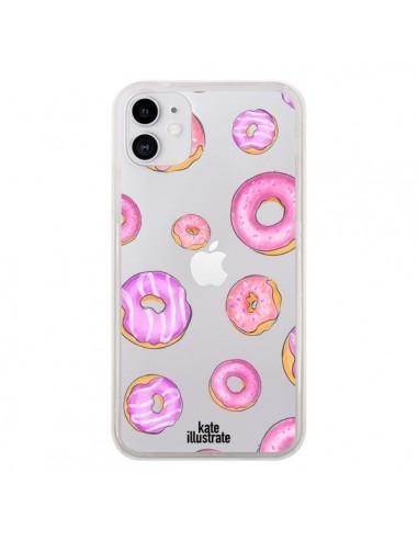 Coque iPhone 11 Pink Donuts Rose Transparente - kateillustrate