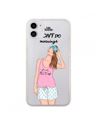 Coque iPhone 11 I Don't Do Mornings Matin Transparente - kateillustrate