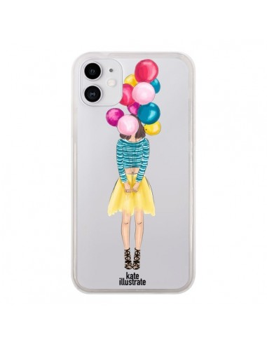 Coque iPhone 11 Girls Balloons Ballons Fille Transparente - kateillustrate