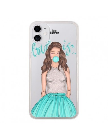 Coque iPhone 11 Bubble Girls Tiffany Bleu Transparente - kateillustrate